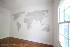 World Map Wall Decor with projector shining on wall traced and handpainted - could add color too...