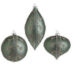 "RAZ Imports 7"" Sage Green Glittered Glass Ornaments"