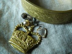 Cuff Bracelet AssemblageGold Crown Queen of Hearts by 58Diamond