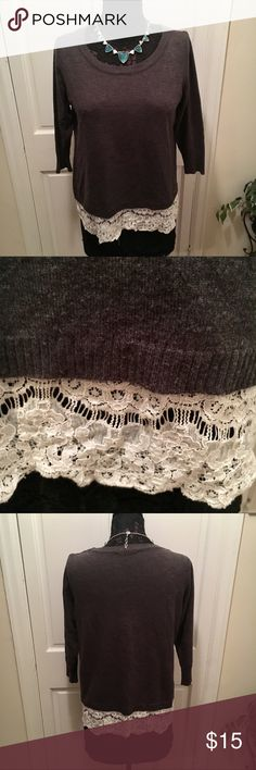 Ivanka Trump Dark Gray Sweater w/ Lace This sweater is in perfect condition, has stretch and has lace on the bottom. Ivanka Trump Sweaters