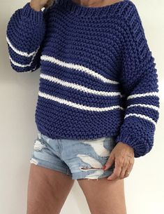 Sweater Knitting Patterns, Knitting Yarn, Knit Patterns, Crochet Box Stitch, Knit Crochet, Chunky Wool, Cardigan Outfits, Casual Sweaters, Crochet Scarves