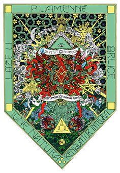 The flag of thelemic Lodge at the flaming eagle (my artwork) / Prapor thelémické Lóže U plamenné orlice (má výtvarná práce)