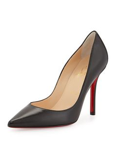 Apostrophy Pointed Red-Sole Pump, Black by Christian Louboutin at Neiman Marcus.