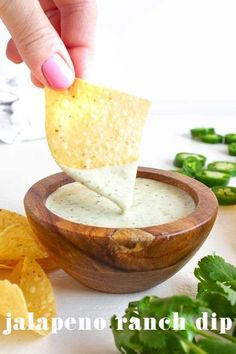 Jalapeno Ranch Dip is a simple dip recipe that is super creamy and herbs. It also has a spicy kick from the fresh jalapenos. My favorite sauce to dip tortilla chips in, drizzle over a salad or use as a topping for shredded pork tacos. It only takes a few minutes to make and tastes better the longer it chills in the refrigerator. Spicy Recipes, Dip Recipes, Other Recipes, Mexican Food Recipes, Appetizer Dips, Appetizer Recipes, Jalapeno Ranch Dip, Shredded Pork Tacos, Cinco De Mayo