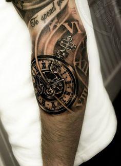 biomechanics tattoo arm tattoos ideas black clock mechanism
