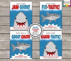 SPECIAL OFFER - Buy 2 Sets Get 1 FREE - Valentines Day Printable Cards - Shark - Kids Personalized Digital Party Handouts