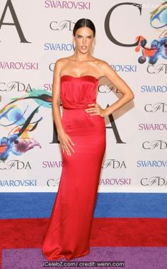 Alessandra Ambrosio attends the 2014 CFDA fashion awards at Alice Tully Hall, Lincoln Center on June 2014 in New York City Swarovski, Strapless Dress Formal, Formal Dresses, Celebrity Red Carpet, Alessandra Ambrosio, Tee Dress, Italian Fashion, Her Style, Supermodels
