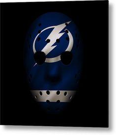 Lightning Metal Print featuring the photograph Lightning Jersey Mask by Joe Hamilton Joe Hamilton, Goalie Mask, Nhl Jerseys, Tampa Bay Lightning, Aluminium Sheet, Got Print, Football Helmets, Fine Art America, Hockey