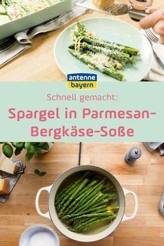 Rezept: Spargel in Parmesan-Bergkäse-Soße. Zum Ende der Spargelsaison haben wir nochmal ein leckeres Rezept: Spargel in Parmesan-Bergkäse-Soße Food Blogs, Parmesan, Easy Starters, Delicious Dishes, Souffle Dish, Easy Meals, Parmigiano Reggiano