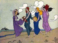 Margaret Evans Price - The four daughters of celeus. Tags: celeus, keleus, kallidice, callidice demo, cleisidice, kleisidike, callithoe, kallithoe, demeter, ceres,