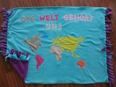 "my cute fleece blanket ""world"" ...Handmade by HEDERVIGA"