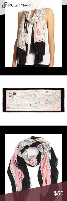 "Kate Spade detailed new york map scarf Run around town in our gauzy scarf, printed with a clever map of manhattan. pair it with a buttoned-up trench and statement earrings for an afternoon shopping trip uptown, or with sky-high heels and a silky blouse for drinks at a hotspot downtown. heavy weight viscose. 80""h x 30""w. Like new kate spade Accessories Scarves & Wraps"