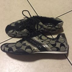 Coach Black Silver Sneakers Great condition. Minor wear in toe tips. Size 6 Coach Shoes Sneakers
