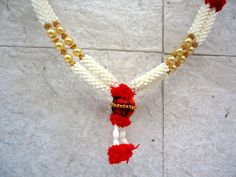 Red and white puja garland, photo garland, statue garland, idol garland, Indian god idol decoration, wedding supply, home decor, prayer mala by craftcoloursindia on Etsy