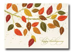 Change of Hues available from Carlson Craft - This ecru Thanksgiving card is made of recycled paper and includes embossed and foil autumn leaves.  #CarlsonCraft #thanksgiving