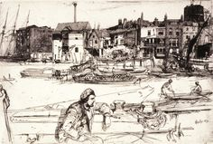 James McNeill Whistler Black-Lion Wharf 1859 Etching, third (final) state, x 14 The Lunder Collection James Abbott Mcneill Whistler, Whistler's Mother, Renaissance, Black Lion, Art Society, Guache, Poster Prints, Art Prints, Illustrations