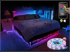 Led lighting bedroom - Phone App controlled LED lights This rocks my world! Bed Lights, Room Lights, Neon Bedroom, Bedroom Decor, Bedroom Ideas, Game Room Design, Gamer Room, Cute Room Decor, Room Setup