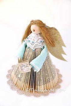 Kirja-enkeli Book Folding, Book Art, Princess Zelda, Christmas Ornaments, Holiday Decor, Cards, Handmade, Design, Navidad
