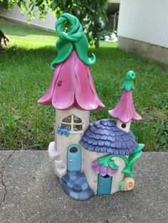 Handmade fairy house - flowers, snail and ladybugs, faeries house. Pink, purple and green -Fairy Garden House - centerpiece for your garden