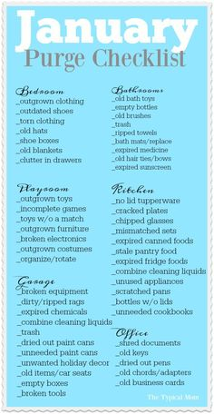 January purge checklist printable that helps you go through what needs to be thrown away and donated room by room. I do this every year and it's SO helpful! via /thetypicalmom/