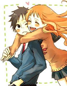 Luffy x Nami fan art cutee