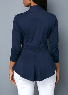 V Neck Long Sleeve Navy Blue Blouse | modlily.com - USD $24.31
