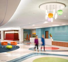The winding path is an entertaining but practical aid for wayfinding while colorful seating in different shapes and sizes adds a sense of fun. Photo: HKS Inc./Blake Marvin