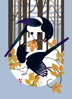 Magpies cover for a Reno-based design magazine by Charley Harper