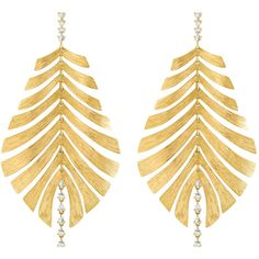 Women's Yellow Gold Earring by HUEB Bahia Yellow Gold Earrings (€5.205) ❤ liked on Polyvore featuring jewelry, earrings, gold, leaves earrings, evening jewelry, statement earrings, gold jewellery and gold jewelry