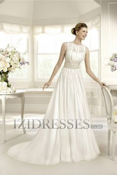 A-Line Sheath/Column Square Chiffon Wedding Dress - IZIDRESSES.COM at IZIDRESSES.com