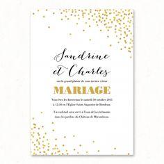 Invitation Faire-part mariage Champagne confetti festif élégant chic bohème champêtre paper and love