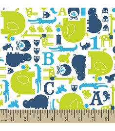 Snuggle Flannel Fabric Baby Animals BlueSnuggle Flannel Fabric Baby Animals Blue,