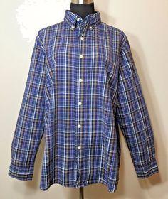 Chaps Shirt Plaid L Button Down Long Sleeve Striped Easy Care Men's #Chaps