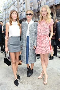 Alexa Chung, Laura Bailey, and Poppy Delevingne at the Chanel show.