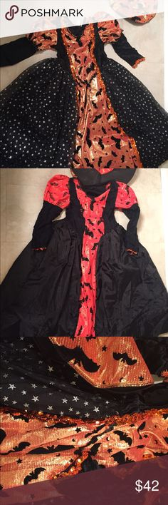 Gorgeous reversible witch costume from Salem, MA! Gorgeous girl's size 10-12 witches costume. I bought this for my daughter when we were in Salem, Massachusetts right before Halloween last year. The dress is lined with a silky black liner with a black taffeta frill. The dress and hat are reversible- one side is a metallic orange with bats on the top and sparkling silver stars on the bottom. The other side is neon orange with bats and stars all over it! Unique costume for your little girl…