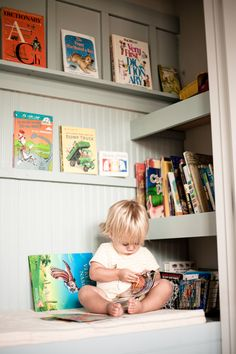 kids closet turned into an awesome book nook! Could do this in the nook in Lincoln's room