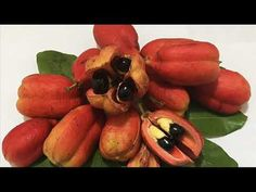 The ackee, (Blighia sapida) is a fruit. It is related to the lychee and the longan. It is native to tropical West Africa. West African Food, African Recipes, Canapes, Tropical, Fruit, Vegetables, African Food Recipes, Vegetable Recipes, Veggies