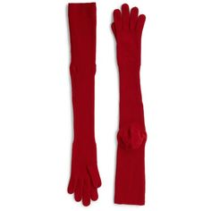 """Maison Margiela Long Wool Gloves/27"""" ($265) ❤ liked on Polyvore featuring accessories, gloves, apparel & accessories, red, red elbow length gloves, maison margiela, long opera gloves, wool gloves and red gloves"""