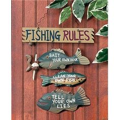 fishing cabin decor | Fishing Rules Sign - Cabin Wall Decor