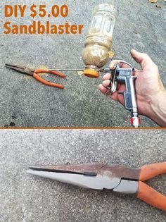 DIY sandblaster using a plastic bottle Sand and soda blaster. Best Ideas About DIY Life Hacks & Crafts 2017 / 2018 I have been looking at sand and soda blasters for about 6 months. They are either inexpensive and cheap or very well made and expensive! Cool Tools, Diy Tools, Hand Tools, Garage Tools, Homemade Tools, Tool Storage, Car Storage, Home Repair, Carpentry