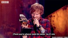 Made acceptance speeches like this. | 39 Things Ed Sheeran Did In 2014 That Were Utterly Perfect