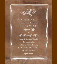 Engraved Acrylic Wedding Invitation Keepsake By EngraveIt On Etsy 5500