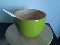 Ekobo salaattikulho ja ottimet, käsintehty, bambua