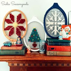 Vintage Tennis Racket Oversized Cross Stitch - I've seen oversized cross stitch on cane back chairs, chicken wire, and peg boards...but what about those wooden...