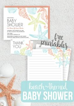 Planning a Beach Themed Baby Shower? Check out these super cute Baby Shower Printables! Perfect for a Boy Baby Shower or Girl Baby Shower!