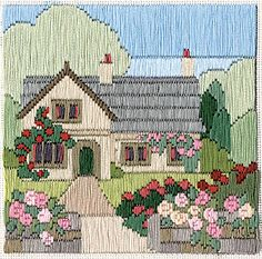Rambling Rose Cottage Silken Long Stitch Kit from Derwentwater Designs and designed by Rose Swalwell. Bargello Needlepoint, Needlepoint Stitches, Needlepoint Kits, Needlepoint Canvases, Needlework, Crewel Embroidery, Cross Stitch Embroidery, Embroidery Patterns, Cross Stitch Patterns