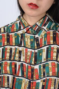 vintage 1980s LIBRARIAN chic 100 silk collared by MuzukashiiOnna