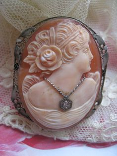 Deco 14K White Gold Filigree Cameo Habille  Cameo by AndOnToWillow