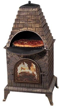 Enjoy fire and cook your dinner at the same time with the Deeco Aztec Allure Pizza Oven Outdoor Fireplace. This fireplace has a barbecue grill hidden behind the sunburst. Made from stainless steel, this outdoor fireplace is strong and long lasting. Best Outdoor Pizza Oven, Outdoor Oven, Outdoor Cooking, Outdoor Kitchens, Outdoor Rooms, Outdoor Living, Wood Fired Oven, Wood Fired Pizza, Bread Oven