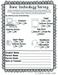 This is a short technology survey to send home at the beginning of the year. It includes a space for parents to provide email addresses. The survey will let the teacher know what technology is available at home that the student may use for homework or enrichment.